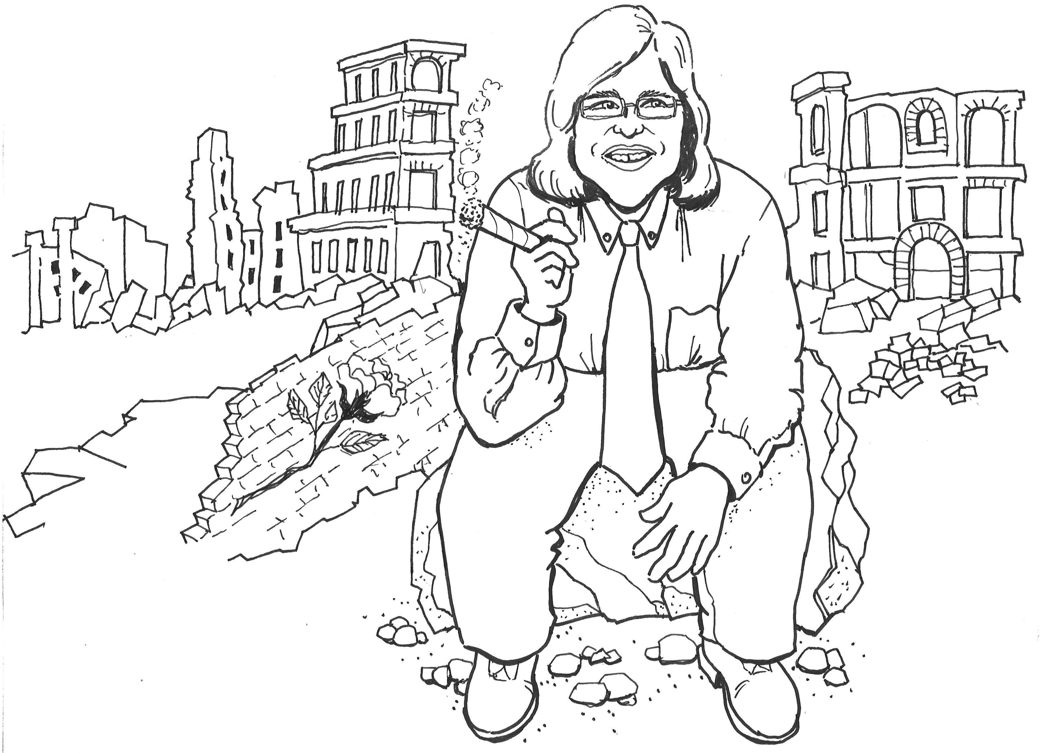 caricature of me sitting on a pile of rubble, smoking a cigar